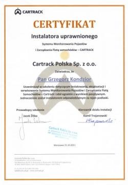 Cartrack - Certyfikat uprawnionego instalatora systemów monitoringu pojazdów