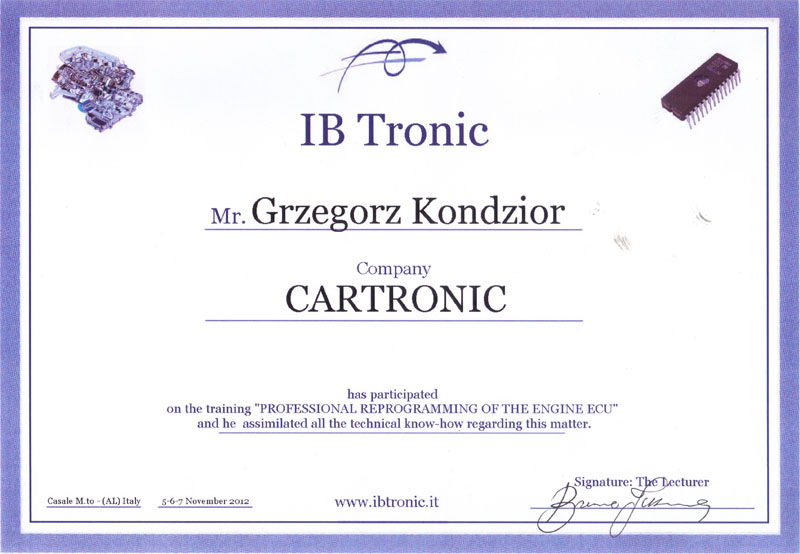 IBTronic - szkolenie Professional reprogramming of  the engine ECU
