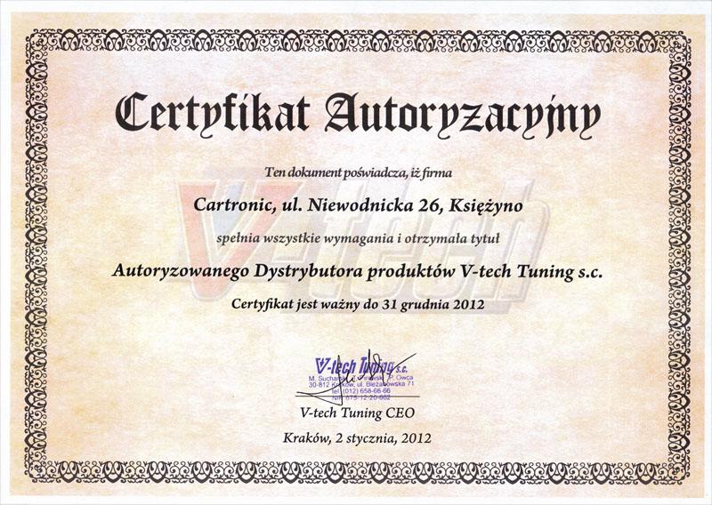 VTECH - certyfikat autoryzacji