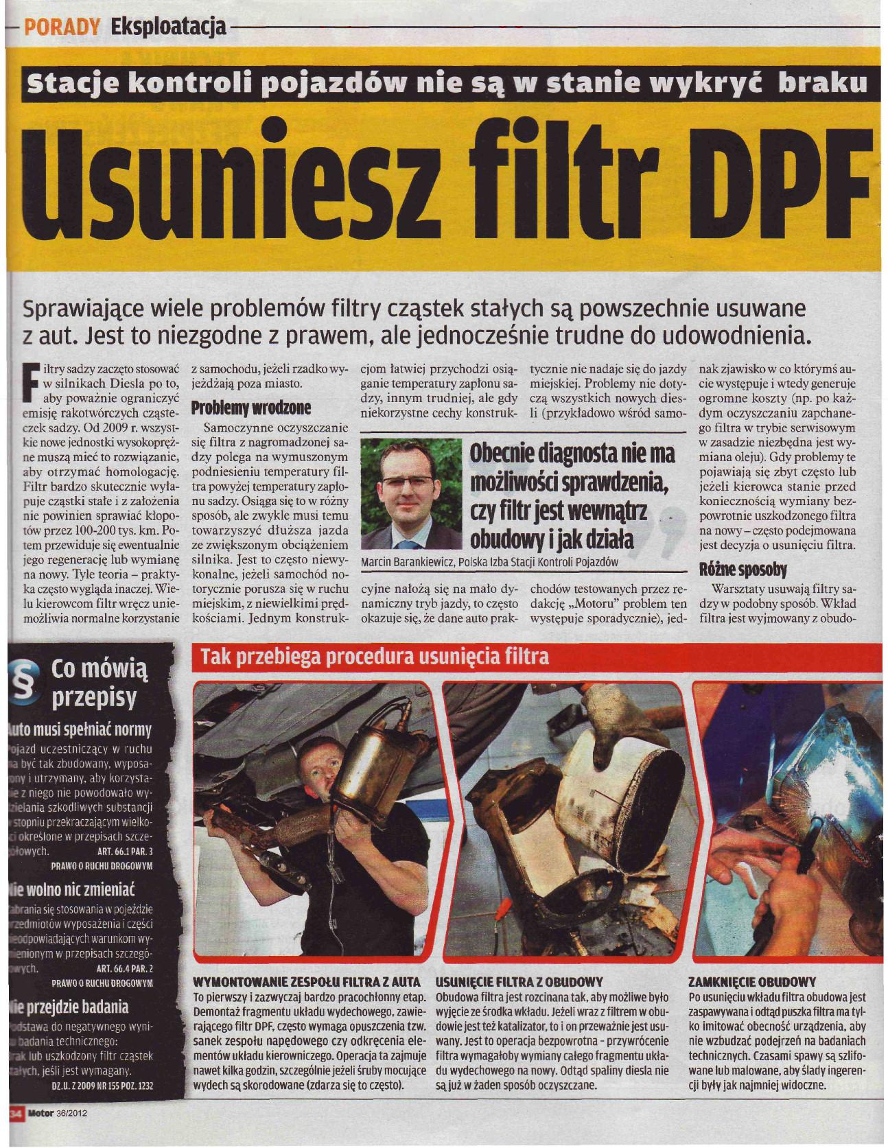 Prasa o filtrach cząstek stałych DPF