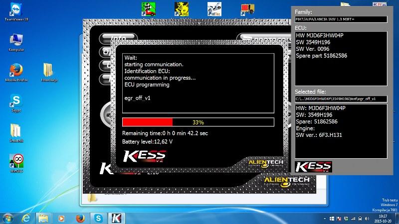 zaprogramowanie komputera silnika nowym programem z wyłączonym zaworem EGR